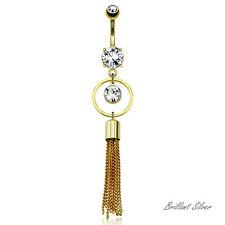 Bauchnabelpiercing Gold Nabel Piercing Stecker Anhänger Ketten Weisse Kristalle