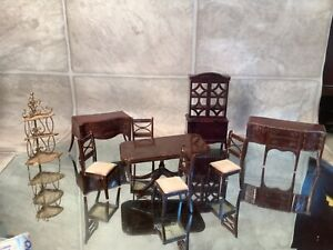 Renwal Doll House Furniture Dining Room w corner wire shelf 9 Pcs 50s 1:16 Ideal