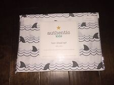 Authentic Kids Sharks Tails Full Sheet Set - White and Gray - 100% Cotton