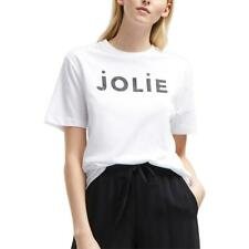 French Connection Womens Jolie (Pretty) White Tee Slogan T-Shirt Top M BHFO 6912