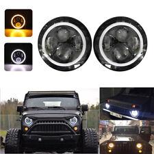 2X 7'' H4 LED faro alone angolo occhio DRL luce del segnale per Jeep Wrangler