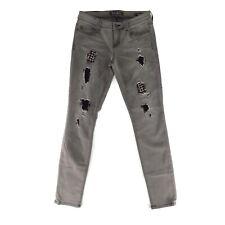 Guess Marciano Grey Jeans Sz 26 Power Skinny Studded Distressed Denim Pants