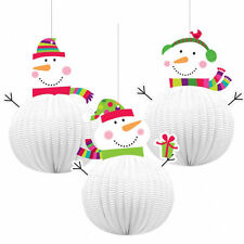 Amscan 3 Joyful Snowman 3d Hanging Decorations 20.3cm