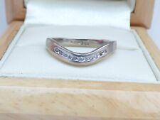 18ct White gold Diamond wishbone wedding or eternity ring  SZ L
