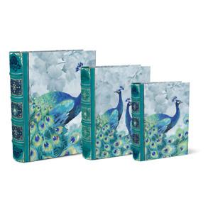 Punch Studio E1 Emerald Peacock Nesting Book Box 3pc Set 46608N