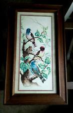 """BIRDS PRINT 21.5 X 13"""" FRAMED MATTED WOOD FRAME VINTAGE SIGNED LITHO"""