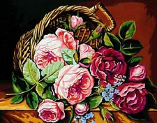 Royal Paris Tapestry/Needlepoint Canvas Basket of Roses