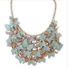 Collier Doré Court  Papillon Email Multicolore Bleu Clair Mariage Original KS 3