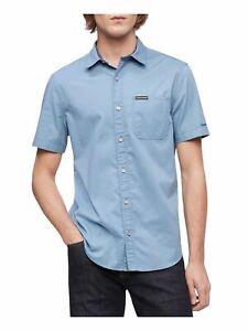 CALVIN KLEIN Mens Light Blue Geometric Short Sleeve Collared Button Down Shirt S