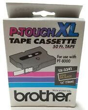 """Brother TX-3341 1/2"""" (12mm) Gold on Black p-touch Label Tape Cartridge PT-8000"""