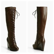 Torrid Size 9.5W Brown Lace Up Combat Wedge Boots (Wide Width & Wide Calf) #219