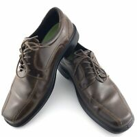 Ecco Mens Size 44 EU Square Toe Lace Up Oxford Brown Leather Dress Casual Shoe