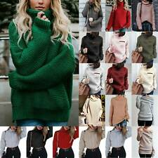 Women Knit Wear Plain High Neck Long Pullover Sweater Jumper Mini Dress Top Warm