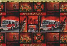 FIRE DEPARTMENT Firefighters Fire Truck 100% Cotton Fabric New HALF YARD BTHY