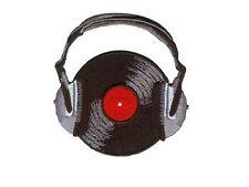 ecusson brodé DJ Disque avec ecouteurs headphones with record DJ patch