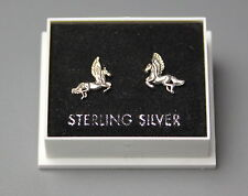 STERLING SILVER 925, STUD EARRINGS, PEGASUS DESIGN, BUTTERFLY BACKS,  STUD 150