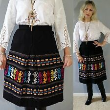 Vtg 70s OAXACAN Tribal Ethnic Aztec EMBROIDERED Mexican Hippie WRAP dress Skirt
