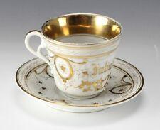2pc KPM Cup and Saucer Gilt decoration, Julius Muller Commemorative 19th century