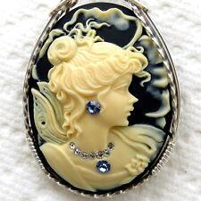 Queen Fairy Cameo Pendant .925 Sterling Silver Jewelry Cream Resin