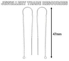 Sterling silver earring ear Câble Chaîne nouveaux compte-gouttes crochet fil + anneau 47MM