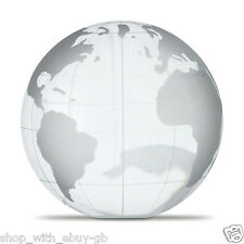 GLASS GLOBE PAPERWEIGHT OR TROPHY - WORLD MAP GLOBE EXECUTIVE DESK TOP GIFT