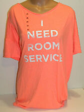 Victorias Secret coverup pink peach I NEED ROOM SERVICE sleep shirt tee XL