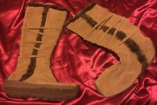 REAL LEATHER ESKIMO INUIT FAUX FUR TIE UP WINTER BOOTS SIZE 3 36 TAN SUEDE NEW