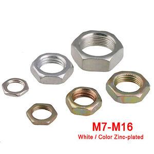 M7M8M9M10M12M14M16 Fine Thread Hexagon Thin Half Lock Nuts - Zinc Plated Steel