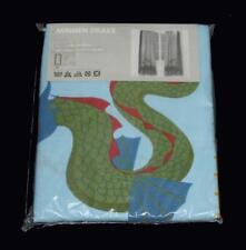 "2 Ikea MINNEN DRAKE Dragon Check Border Rod Pocket Curtain 47"" (ea) x 69"" NIP"