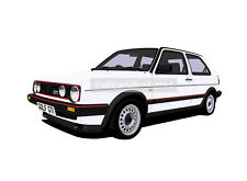 VW GOLF GTI MK2  CAR ART PRINT (A3). ADD REG DETAILS, CHOOSE YOUR COLOUR