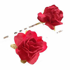 A Pair of Rose Hair Clips. Bridesmaid Festival Bridal Flower Bobby Grips Slides
