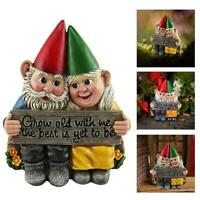 Garden Gnome Couple in Love Figurine Statue Growing Old Together Garden Home Hot