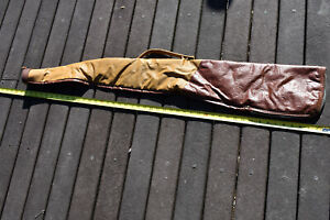 """Hunting Rifle Carrying Case, Leather Like, 7"""" opening. 48"""" L. Stamped Med 2 tone"""