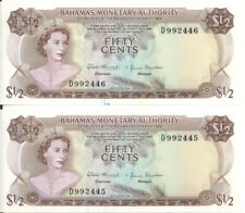 Bahamas Monetary Authority 1968 50 Cents Consecutive Pair P-26 UNC& AU