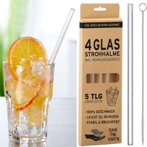4x Glasstrohhalm 1x Reinigungsbürste Glas Strohhalm wiederverwendbar Trinkhalm