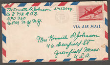 Dec 1945 post WWII cover T/4 Kenneth Johnson APO 350 Paris/539 Friedrichsfeld ?