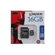 KINGSTON MICRO SD 16 GB CLASSE 4 TRANSFLASH SCHEDA MEMORIA HC 16GB ADATTATORE