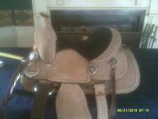 """Saddle By Royal King All Leather Rough out Natural Basket Barrel Racing 12"""" Seat"""