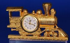 Vintage miniature brass steam train clock, working order W:80mm *[19715]