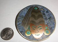 VINTAGE MEXICAN STERLING SILVER TURQUOISE LAPIS COPPER FACE MODERNIST BROOCH