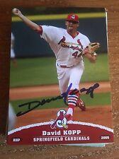 Springfield Cardinals David Kopp Autograph Signed Auto Card