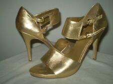 """Gold Metallic 4"""" High Heels Ankle Dual Strap Shoes 7M Holiday Special Occasion"""