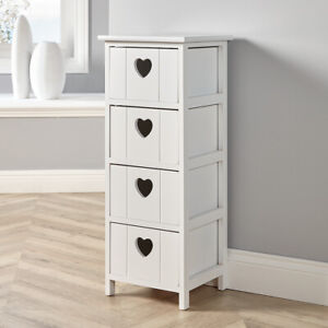 White Wooden 4 Drawer Chest Storage Unit Bedroom Organiser Bedside Love Hearts