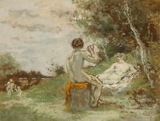 "Ker-Xavier ROUSSEL (Painter): ""Pastorale"" - Oil on Paper, Laid on Panel"