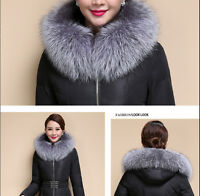 Silver Fox Fur Collar Down Jacket Hood Trimming Scarf Natural Silver 80*18cm US