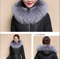 Silver Fox Fur Collar Down Jacket Hood Trimming Scarf Natural Silver 80*18cm