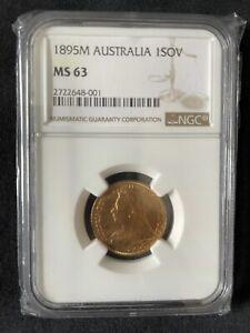 Australia 1895 M Victoria Old Head Gold Sovereign NGC MS 63 Melbourne Mint