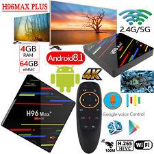 H96MAX Plus 4+64GB Android8.1 Quad-Core 4K Smart TV BOX WIFI H.265 Voice Control