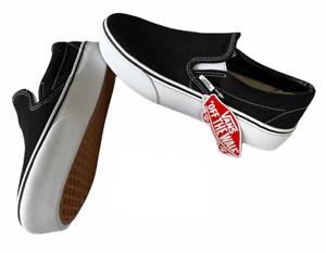 Vans Classic Slip On (Platform) Black White Canvas Shoes Size 9 Women's NIB ⭐️