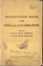 Austin 3 Ton 4x2 CL Cargo Truck 1951 Original War Office Handbook Pub. 726B/WD/1